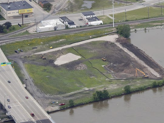 An aerial view of the proposed site of the Shipyard baseball stadium and entertainment complex, north of Mason Street between the Fox River and Broadway in Green Bay.