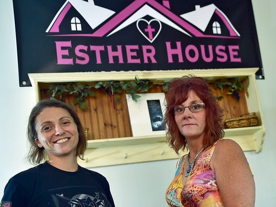 Bernadette Bowman, right, certified addiction specialist and case manager at Esther House, 112 Walnut Street, Waynesboro, spends time with Staci Harrison on Friday, August 4, 2017. Harrison is in recovery from addiction.