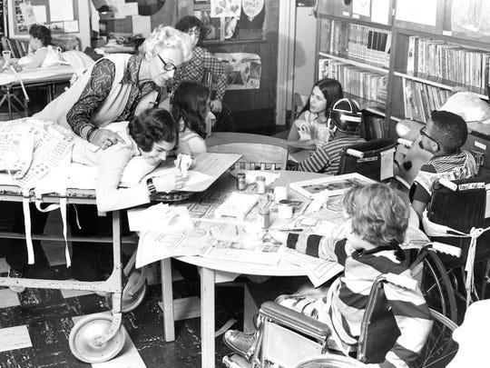 Pediatric patients playing and learning together at CSH in a 1968 photo.