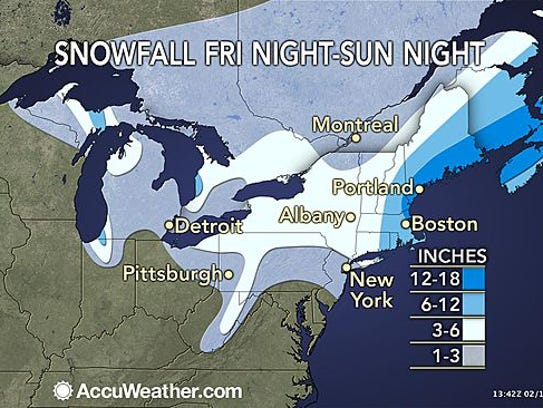 More than a foot of snow is likely in parts of eastern