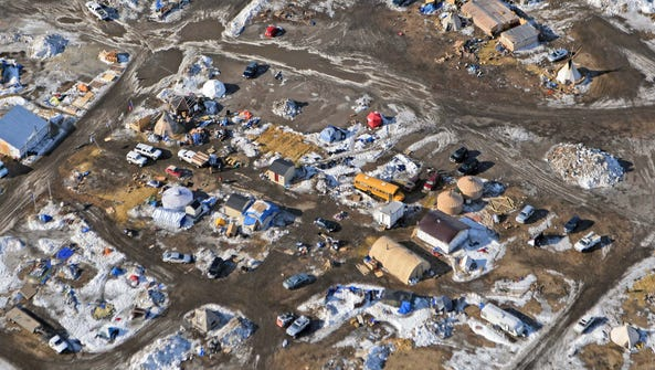 This Feb. 13 aerial photo shows the Oceti Sakowin camp,