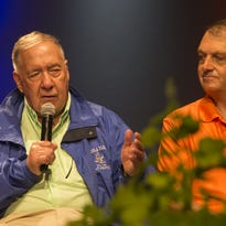 A panel of key people who took part in Desert Storm talked on stage at the Theater in the Woods on Friday in a twenty-five gathering at AirVenture on July 29, 2016.
