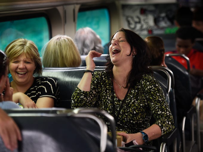 Gina Naylor and Nikki Brown share a laugh on the the