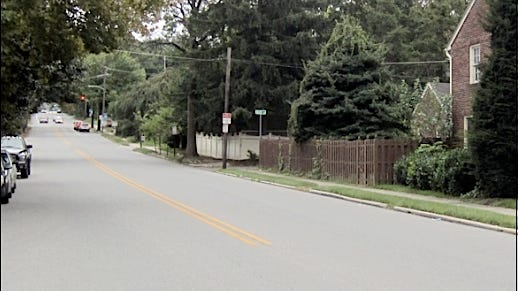 NOW photo while standing near the Irving Road finish line of the South Queen Street Soap Box Derby course in York, PA; utilized from 1952 until 1959 inclusive. (S. H. Smith photo)