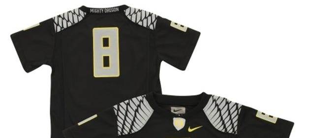 Twenty-five variations of Marcus Mariota's No. 8 jersey are for sale on the Oregon Athletics website.