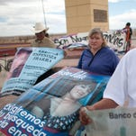 People who lost female relatives to crime march in Ciudad Juarez, Mexico on March 8, 2013.