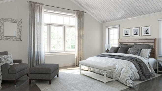 Sherwin Williams in Middletown gets a lot of requests for Sea Salt, Modern Gray, Repose Gray (seen here), and other hues that straddle the line between gray, beige, blue and green.