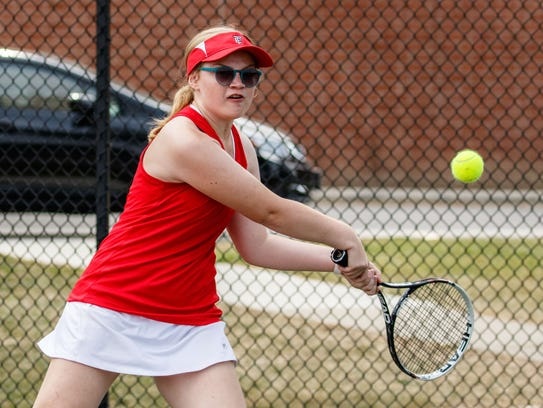 Wauwatosa East No. 1 doubles player Kat Terwelp competes