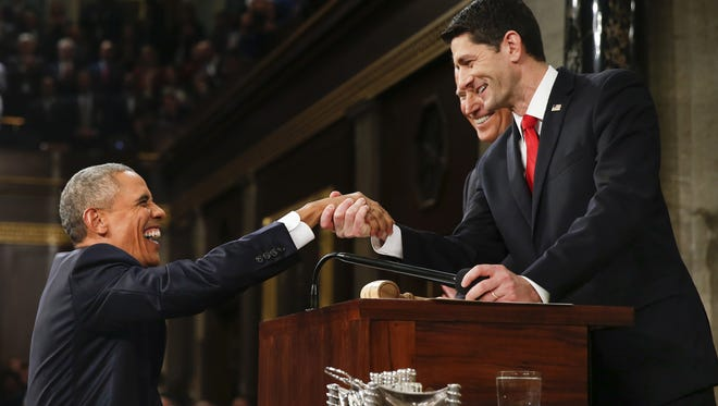 President Obama shakes hands with House Speaker Paul Ryan on Capitol Hill on Jan. 12, 2016.