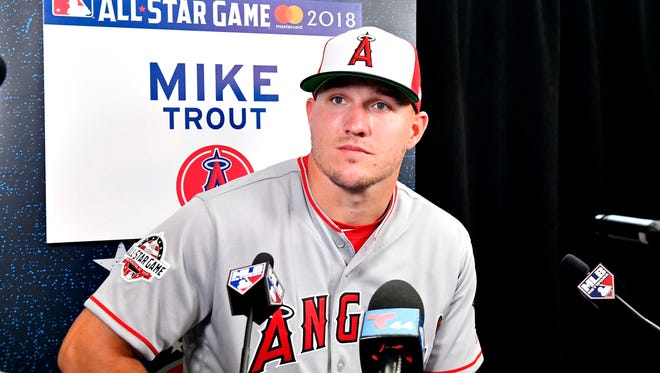 Millville native Mike Trout of the Los Angeles Angels (27) talks with reporters during workouts in preparation for the 2018 MLB All Star Game at Nationals Ballpark. Mandatory Credit: Brad Mills-USA TODAY Sports