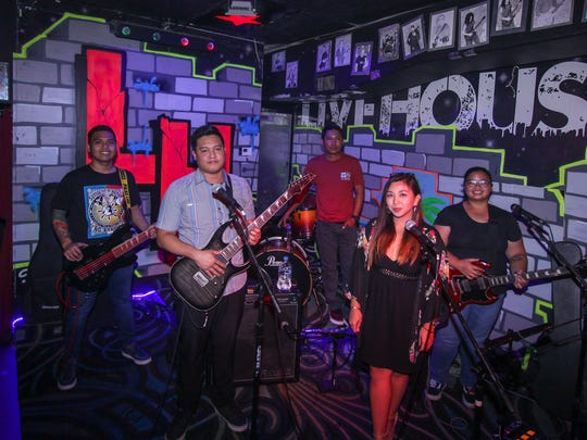 The Band, Bellarin performing on Aug, 15, 2017 at Livehouse, Tumon. From left:  Arick Zantua, bass; Fernan De Vera, lead guitar; Ong Lopez, drums;  Jonnavie Abaya, vocals and Maria Grace Manalili, rhythm guitar.
