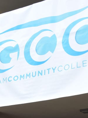 Guam Community College's new logo is shown on a sign in this file photo.