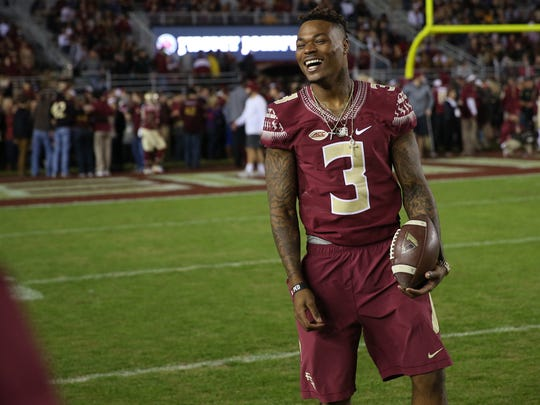 FSU Safety Derwin James hangs out with teammates before their game against the Florida Gators at Doak Campbell Stadium on Saturday, Nov. 26, 2016.