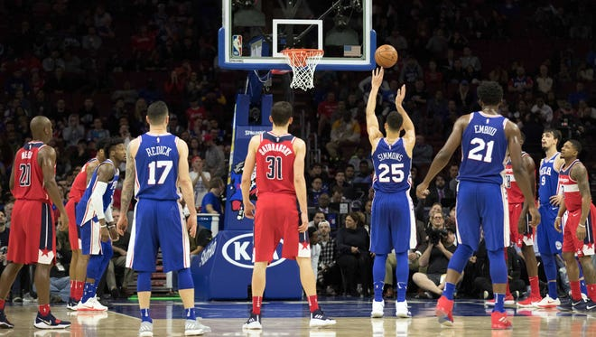 Philadelphia 76ers guard Ben Simmons (25) shoots a foul shot during the fourth quarter against the Washington Wizards at Wells Fargo Center.