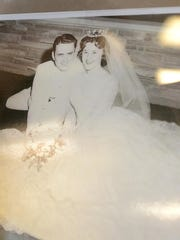 West Hickory Haven Nursing Home resident Julia Toney has her 1961 wedding day photo with her husband Gary in the nursing home's display case.