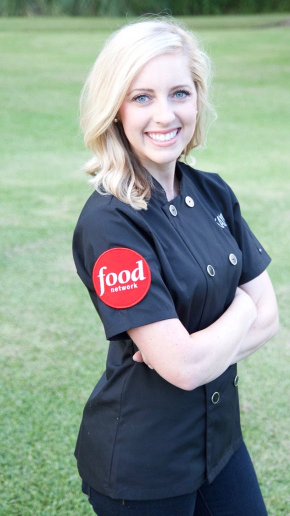 "Kayla Trahan is pictured during filming for Food Network's ""Cake Wars."""