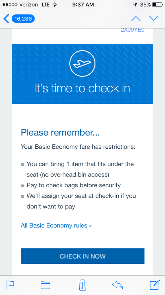 The American Airlines app gives you lots of reminders