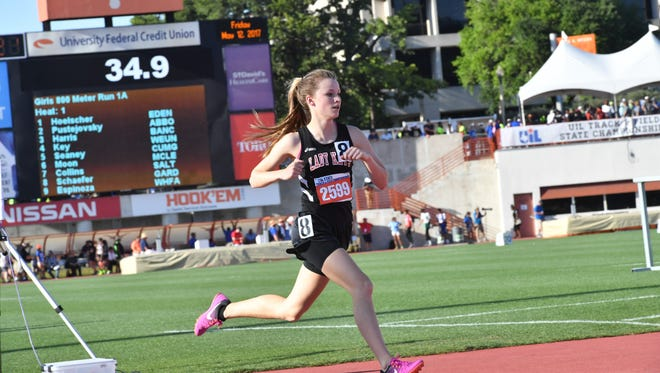 Garden City's Kenzie Schaefer  runs in the 800 meters Friday, May 12, during Class 1A competition at the UIL State Track and Field Championships in Austin.