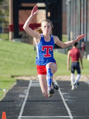 Maddy Troy of Kenosha Tremper competes in the girls long jump at the Myrhum Invitational track and field meet Saturday at Arrowhead High School. She finished fifth.