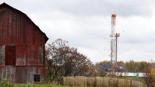 A natural gas drilling rig in northeastern Pennsylvania.