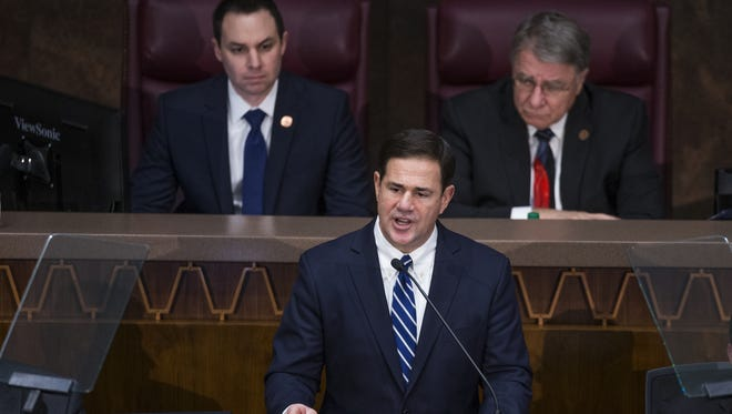 Arizona Gov. Doug Ducey delivers his State of the State in the House of Representatives at the Capitol on Jan. 8, 2018.