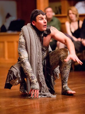 """Patrick Midgley portrays Caliban in """"The Tempest"""" at the Blackfriars Playhouse in Staunton."""