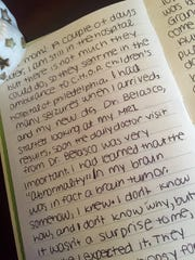 En excerpt from Hannah's journal after she found out she had a brain tumor.