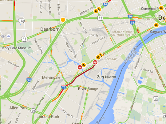 A pothole has backed up traffic for miles on northbound I-75 at Springwells on the Rouge River bridge