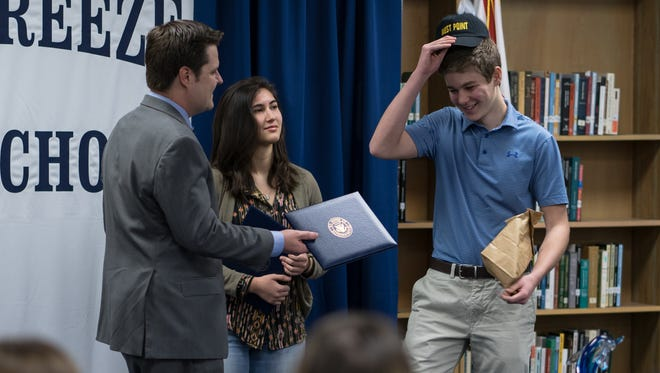 Matt Gaetz presents a nomination to West Point to Lawrence Uhl on Tuesday, Jan. 23, 2018.