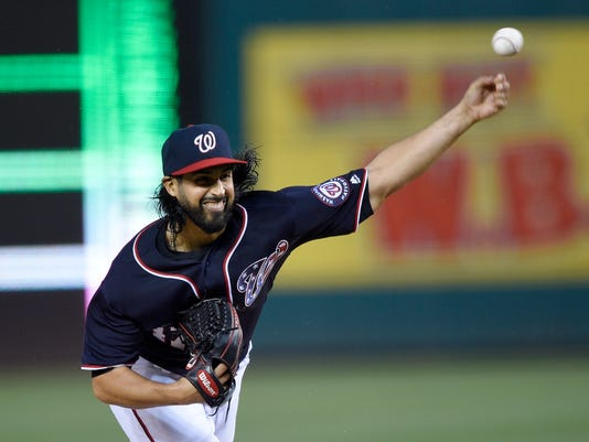 Washington Nationals starting pitcher Gio Gonzalez (47) delivers a pitch during the second inning of a baseball game against the Minnesota Twins, Friday, April 22, 2016, in Washington. (AP Photo/Nick Wass)