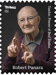 U.S. postage stamp of Robert Panara.
