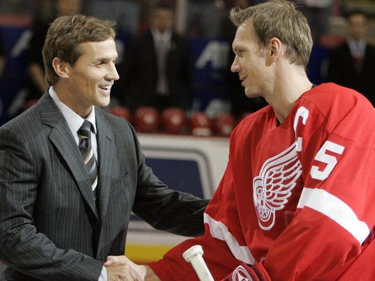 Steve Yzerman with Nicklas Lidstrom in 2006. Both first-ballot Hockey Hall of Famers can laugh about how they retired without having won the Hart Memorial Trophy.