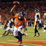 Jan 17, 2016; Denver, CO, USA; Denver Broncos wide receiver Demaryius Thomas (88) celebrates after scoring on a two-point conversion against the Pittsburgh Steelers during the fourth quarter of the AFC Divisional round playoff game at Sports Authority Field at Mile High. Mandatory Credit: Matthew Emmons-USA TODAY Sports ORG XMIT: USATSI-245806 ORIG FILE ID:  20160117_ajw_se2_129.jpg