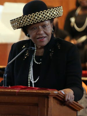 State senator Thelma Harper speaks during the Fisk Founders Day Commemoration marking the school's 150th anniversary on Jan. 9, 2016.