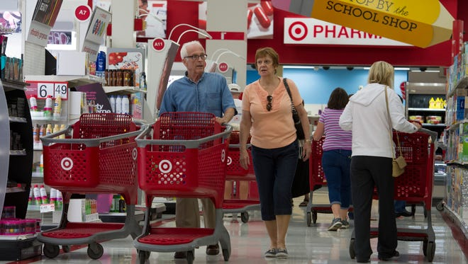 Richard and Loretta Spigel of Wilmington, Del., shop at a Target store in Wilmington.