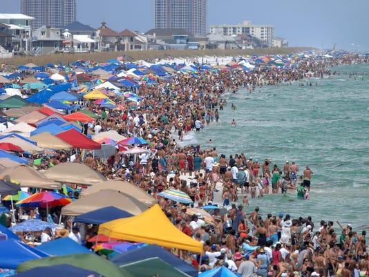 beach crowds