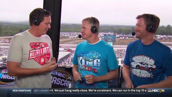 NBC analysts Steve Letarte, Jeff Burton and Dale Earnhardt Jr. wear vintage racing T-shirts during the Monster Energy NASCAR Cup race Sunday, July 22, 2018, at New Hampshire Motor Speedway.