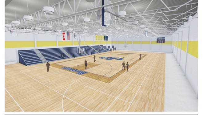 The initial phase of work at the new SC4 Fieldhouse will include replacing the building's HVAC system and lighting, and installing a hardwood floor and a set of bleachers. The floor will contain one main competition basketball and volleyball court, as well as three cross courts. The initial set of bleachers will seat about 750 people.