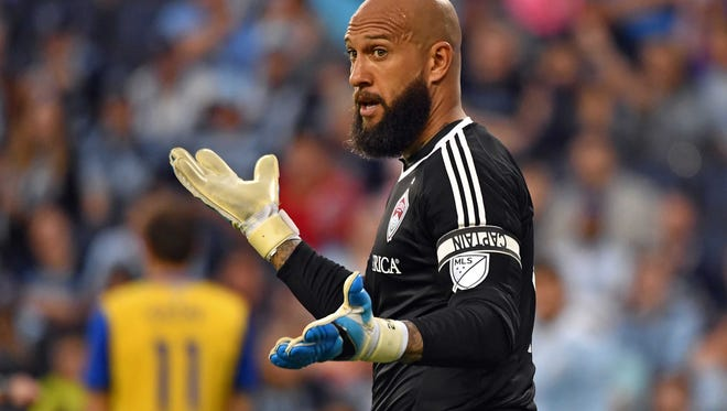 Rapids goal keeper Tim Howard (1) reacts after a play against Sporting KC during the second half at Children's Mercy Park. Sporting KC won 3-1. Apr 9, 2017.