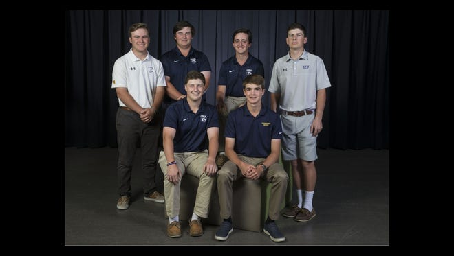 2018 All-Shore Boys Golf Team- Front, sitting: Jack Wall, Christian Brothers Academy, and Connor Bekefi, Toms River North. Back row: Christian Ruchalski, St. Rose, Brendan Hansen, Christian Brothers Academy, Michael Paduano, Christian Brothers Academy, and Travis Weiner, Rumon-Fair Haven. Neptune, NJ Thursday, May 24, 2018 @dhoodhood