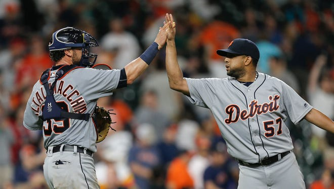 Detroit Tigers' Francisco Rodriguez (57) has four saves this season.