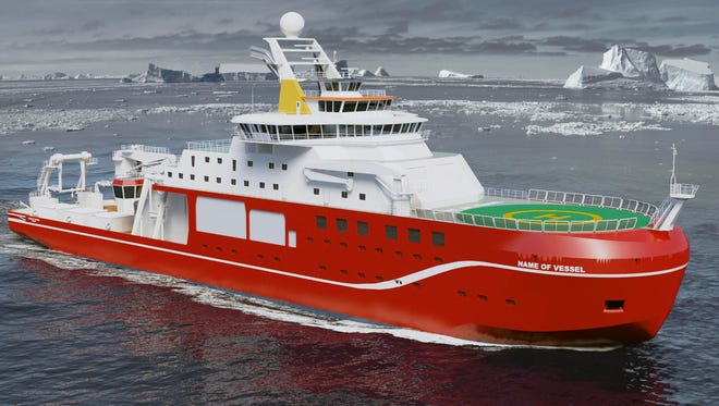 A computer generated image of the Natural Environment Research Council's new polar research ship, which, currently unnamed.
