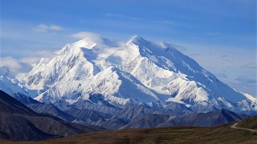 This Aug. 19, 2011 file photo shows Mount McKinley in Denali National Park, Alaska. President Barack Obama on Sunday, Aug. 30, 2015 said he's changing the name of the tallest mountain in North America from Mount McKinley to Denali.