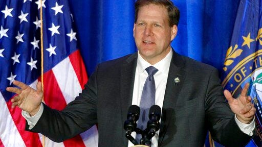 FILE - In this Feb. 10, 2020, file photo New Hampshire Republican Gov. Chris Sununu speaks at a Cops for Trump rally in Portsmouth, N.H. Sununu is seeking his party's nomination in the Tuesday, Sept. 8, primary to run for re-election in November.