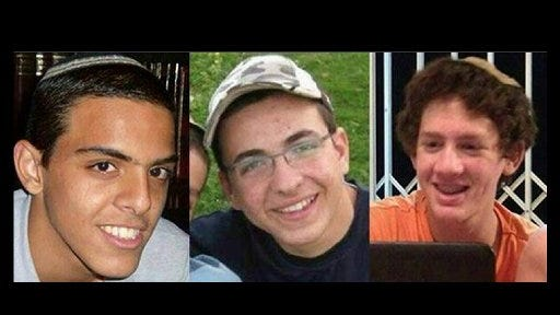A combination of three photos of Israeli teens Eyal Yifrah, 19, Gilad Shaar, 16, and Naftali Fraenkel, a 16-year-old with dual Israeli-American citizenship, who disappeared while hitchhiking home near the West Bank city of Hebron late at night on June 12, 2014. Their bodies were found two weeks later.