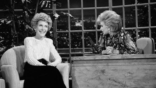 """FILE - In this Oct. 30, 1986 file photo, talk show host Joan Rivers, right, talks with guest, first lady Nancy Reagan, during her appearance on """"The Late Show Starring Joan Rivers,"""" on Fox TV. There has been no progress in adding women or minorities to the ranks of late-night network talk shows since Rivers held the job on Fox 30 years ago. (AP Photo, Reed Saxon, File)"""