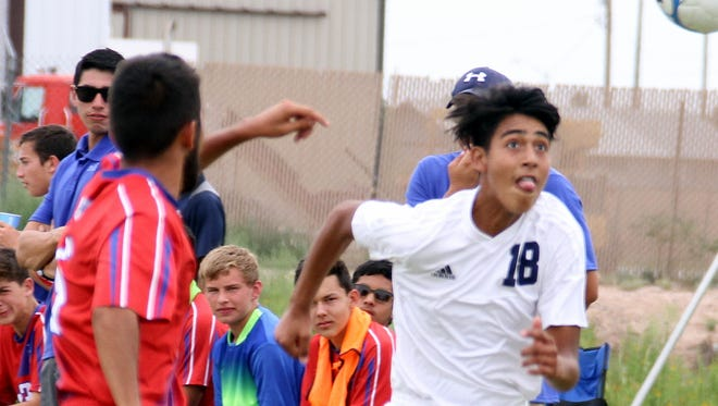Sophomore striker Gabriel Gonzalez (18) scored Deming's lone goal in a 2-1 loss Saturday to visiting Las Cruces High.