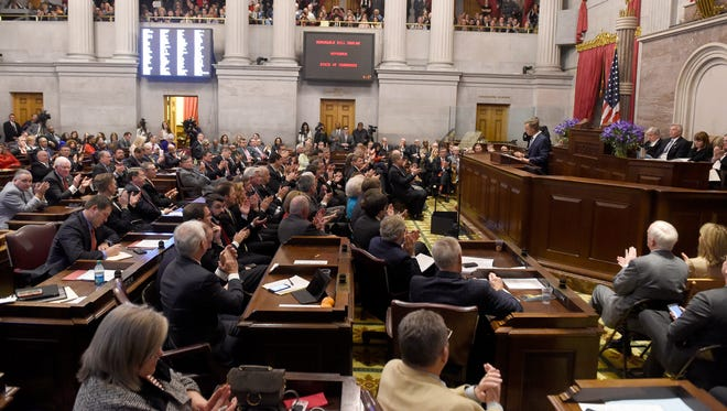 Gov. Bill Haslam delivers his annual State of the State in the Tennessee state Capitol on Monday, Jan. 30, 2017.