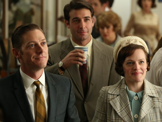 """Ted Chaough (Kevin Rahm), Bob Benson (James Wolk), and Peggy Olson (Elisabeth Moss)  in """"Mad Men - Season 6, Episode 7 - Man With A Plan."""""""