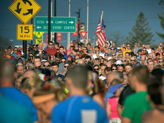 A sea of runners line up for Saturday's Earth Day Half Marathon in St. Cloud.